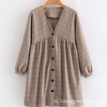 V-Ausschnitt Plaid Casual Cute Student Langarmkleid