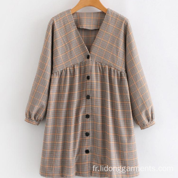 V-cou Plaid Casual Cute Student Robe à manches longues