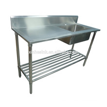 Australia Commercial Catering Kitchen Sink with Work Table, Stainless Steel Kitchen 1 one Compartment Sink with Drainer