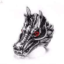 Beliebte benutzerdefinierte Edelstahl Herren Silber gravierte Drachen Ringe
