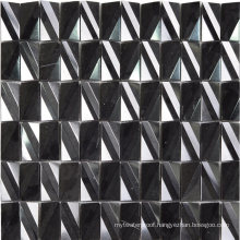 Building Materials Polished Surface Nature Black Stone Mosaic Tile