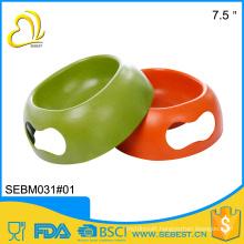 Creative design melamine feeder ware 7.5 inch color bamboo pet feeder