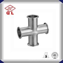 3A 304 / 316L Croix croisée en acier inoxydable sanitaire en acier inoxydable à quatre voies