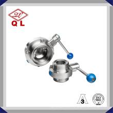 304 / 316L Válvula de mariposa roscada sanitaria de acero inoxidable