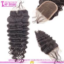 Qingdao approvisionnement remy dentelle fermeture frontale 100 % cheveux humains brésiliens dentelle fermeture de l'usine avec des cheveux de bébé