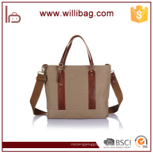 New Arrival Fashion 16 oz Cotton Canvas Tote Bag Leather Handle
