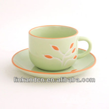 KC-03004flower decal tea cup with saucer,stacking tea cup,edge colored