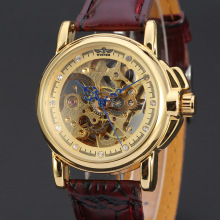 winner vintage style men watch skeleton dial with diamond burgundy leather band