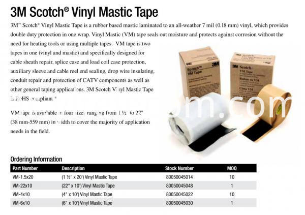 Cable Sheath Repair Protection Scotch Vm Tape 3m Vinyl Mastic Tape Without Heating1