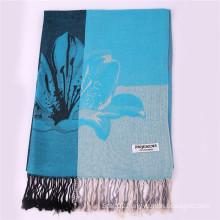 Ladies′ Blue Large Pashmina Winter Scarf for Jacquard Pattern