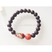 Bracelet perlé en bois peint en pierre naturelle noire