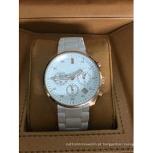 Relógio de Cerâmica Grande Marca Autêntico com 3eyes e Empurradores e Janela de Data