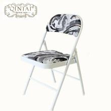 Structure de métal chaise pliante en gros pas cher avec PU dos et siège imprimé noir drapeau américain meubles pliants