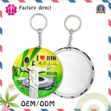 Metal Key Ring with Round Mirror Keychain