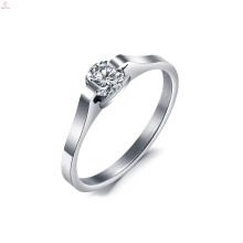 Anneau en acier inoxydable de mariage en cristal simple de couronne de mariage en argent