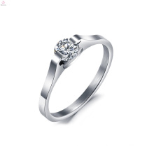 Simple Silver Crown Set Crystal Wedding Engagement Stainless Steel Ring