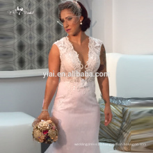 QB120 Luxury Sexy Full Beaded Women Party Gown Sleeveless Tong Train Grace Pink Bling Mermaid Wedding Dresses