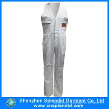 Moda por atacado Workwear Branco Barato Bib Calças para o Trabalhador