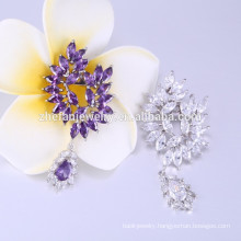 Peacock Shaped Brooches Design purple crystal pin brooch