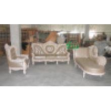 Sofá de couro de madeira para a mobília da sala de visitas (YF-D986)
