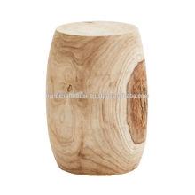 Taburete redondo de acabado natural de madera de mango