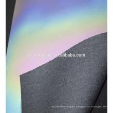 Matéria prima de prata reflexiva do couro do plutônio da cor do arco-íris da qualidade superior para sapatas