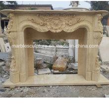 Alta qualidade mão esculpida em mármore lareira (SY-MF220)
