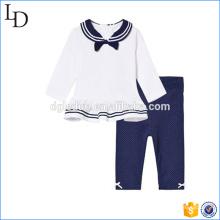 Marinha e corpo branco conjunto de pano de crianças 100% algodão top e conjuntos de calças