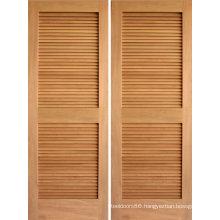 Walnut Veneered Louver Folding Closet Door