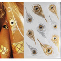 Phoenix feather fake body art boho style metallic gold and silver tattoos(trible design)