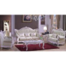 Sofá de couro real para a mobília da sala de visitas (d992)