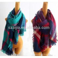 Fashion faux cashmere women winter oversized plaid scarf