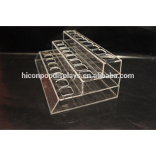 Custom 24 Pockets 3 Tiered Acrylic Eyebrow Pencil Display Counter Makeup Lipstick Rack Display
