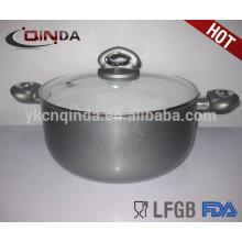 QINDA алюминия с антипригарным низкая кастрюля со стеклянной крышкой