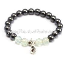 2014 nueva llegada 4pcs natural fluorita piedras preciosas con perlas de terapia magnética y pulsera colgante calabaza