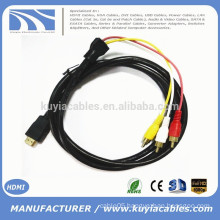 5Ft 1.5m HDMI To 3-RCA Video Audio AV Component Converter Adapter Cable For HDTV DVD