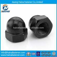 Tuerca de casquillo de bellota de acero al carbono zincado negro