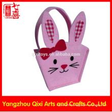 Rabbit shape animal embroidery handbag handmade felt bag