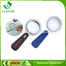 5x handle plastic magnifying glass with led light