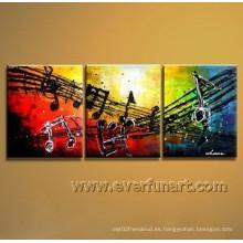 Arte abstracto de la lona Pintura abstracta de la música para la decoración casera (Xd3-202)