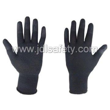 Guante de trabajo negro con parte superior del dedo PU y PVC Mini puntos (PN8018)