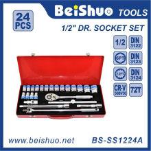 24 PCS 1/2′′dr. Ratchet Wrench Socket Set with Iron Box