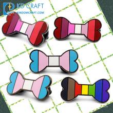Wholesale custom shaped metal colorful hard enamel dog badge cute lovely cartoon pet dog bone lapel pin for decoration