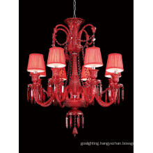 Popular Home Decoration Red Glass Chandelier (KD1308-8)