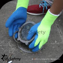 SRSAFETY 7G Акриловая подгузник Трикотажная латексная ладонь Поддержание перчаток зимой