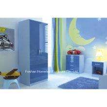 Ensemble de meubles de chambre à coucher pour enfants Blue High Gloss 3 pièces