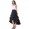 Belle Poque Retro Vintage Gothic Womens Costume Cotton Black High Low Skirt BP000222-1