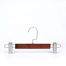 Factory diaect customized wooden pants trousers hanger with clips
