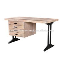 Madera maciza natural con base de metal 4 cajones escritorio de oficina