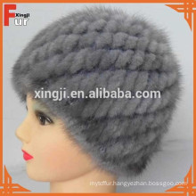 top quality mink fur real knitted mink fur hat
